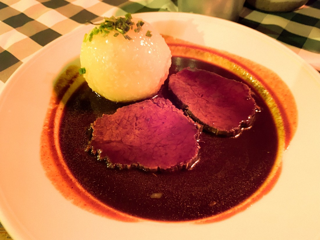 A plate of sauerbraten. This traditional German food is made by soaking meat in wine or vinegar for ten days.