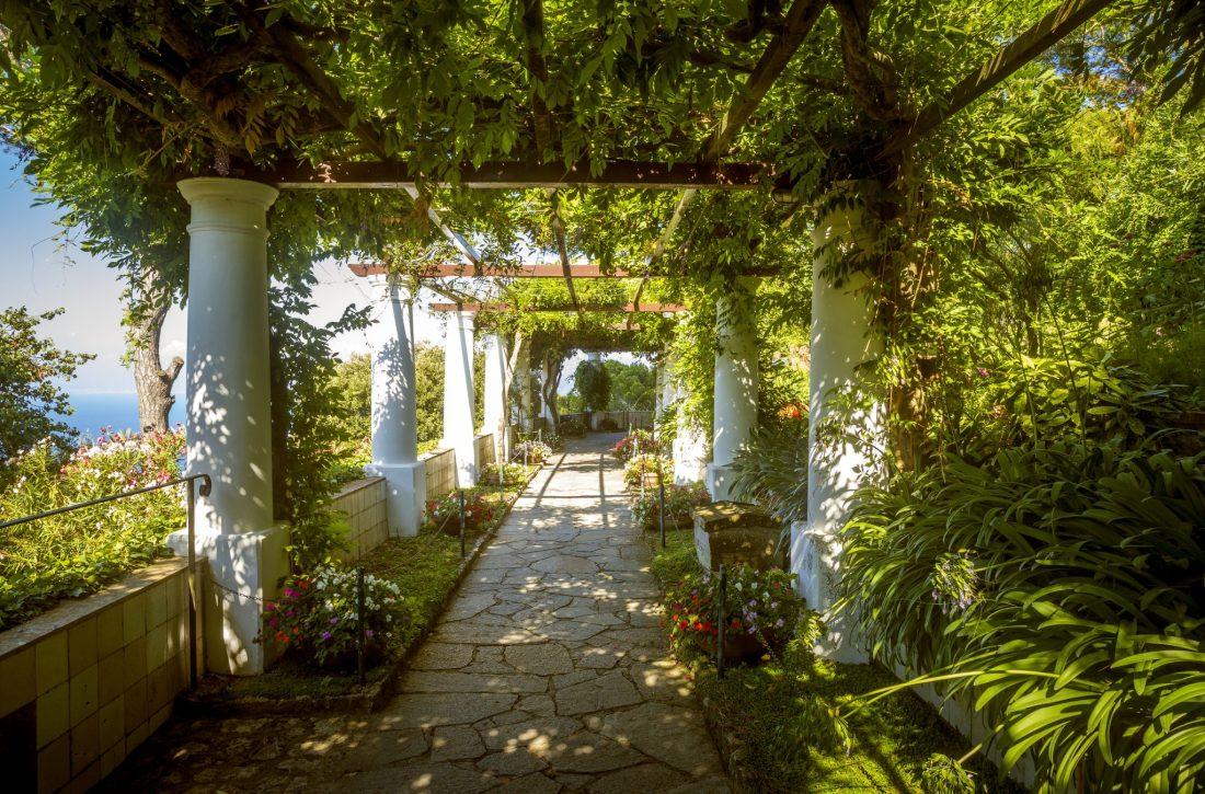 The gardens of the Villa San Michele in Anacapri, Capri. This villa has one of the best views in Capri, and is one of the most Instagrammable places in Capri.