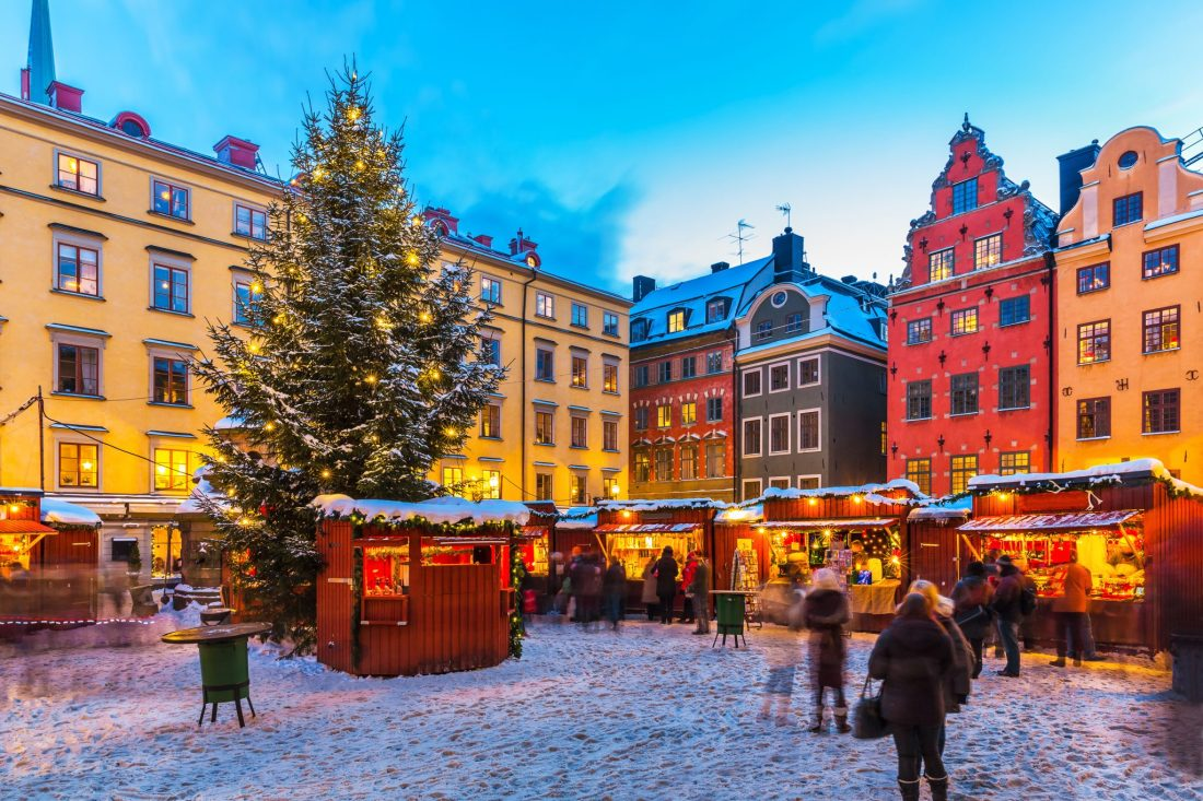 A Christmas market in Gamla Stan, one of the best things to do in Stockholm in winter