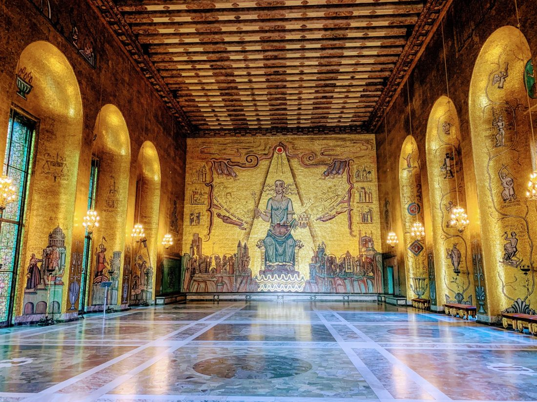 The Golden Hall of the City Hall - the walls are decorated with solid gold mosaics. A tour here is one of the best things to do in Stockholm in winter.