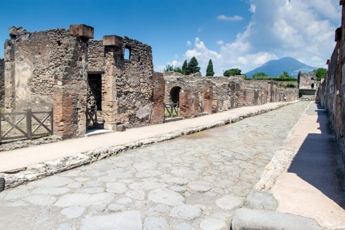 The streets of Pompeii, Italy, with Vesuvius visible
