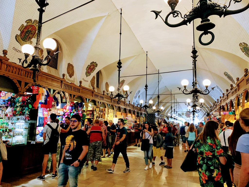 The market stalls of the Cloth Hall. Shopping here is one of the most popular things to do in Krakow.