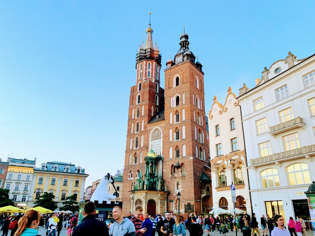 The outside of St Mary's Basilica in Krakow, a place which appears on every Krakow itinerary.