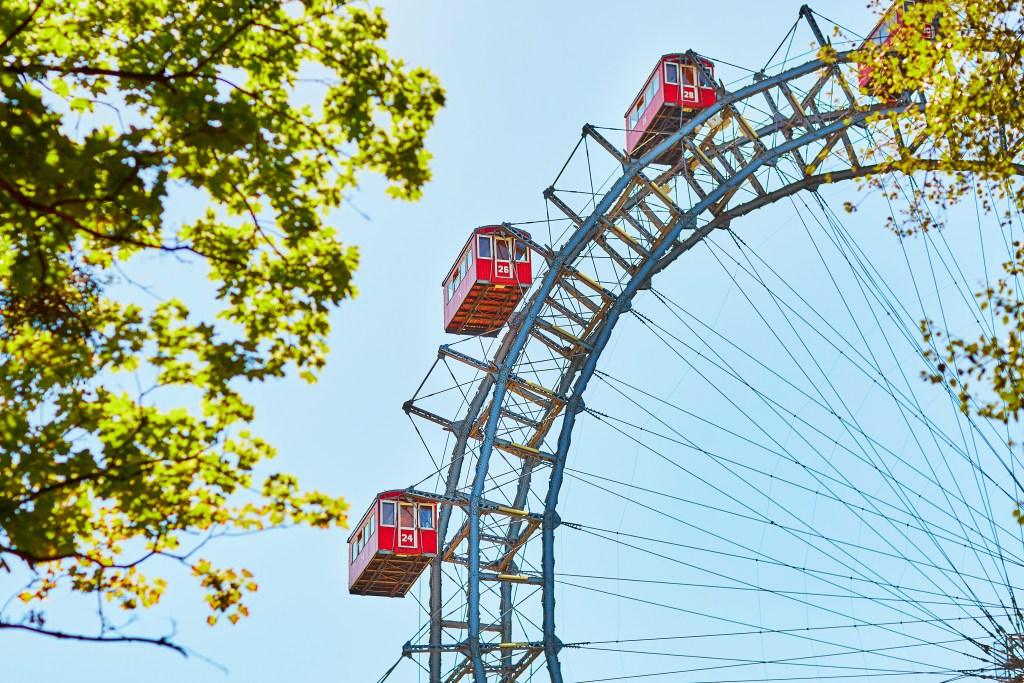 A close up of the Ferris Wheel in Prater Park, Vienna