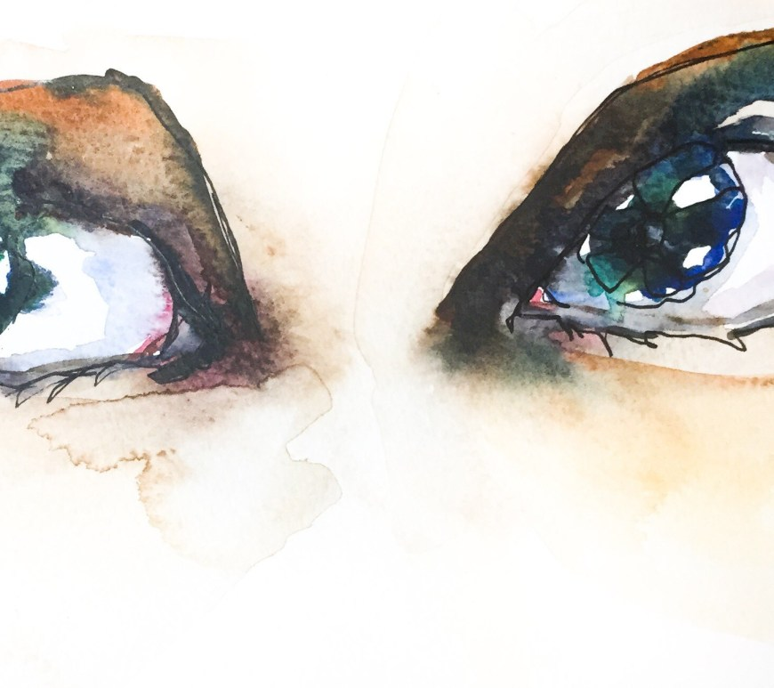 Watercolor time lapse painting giving you the side eye.