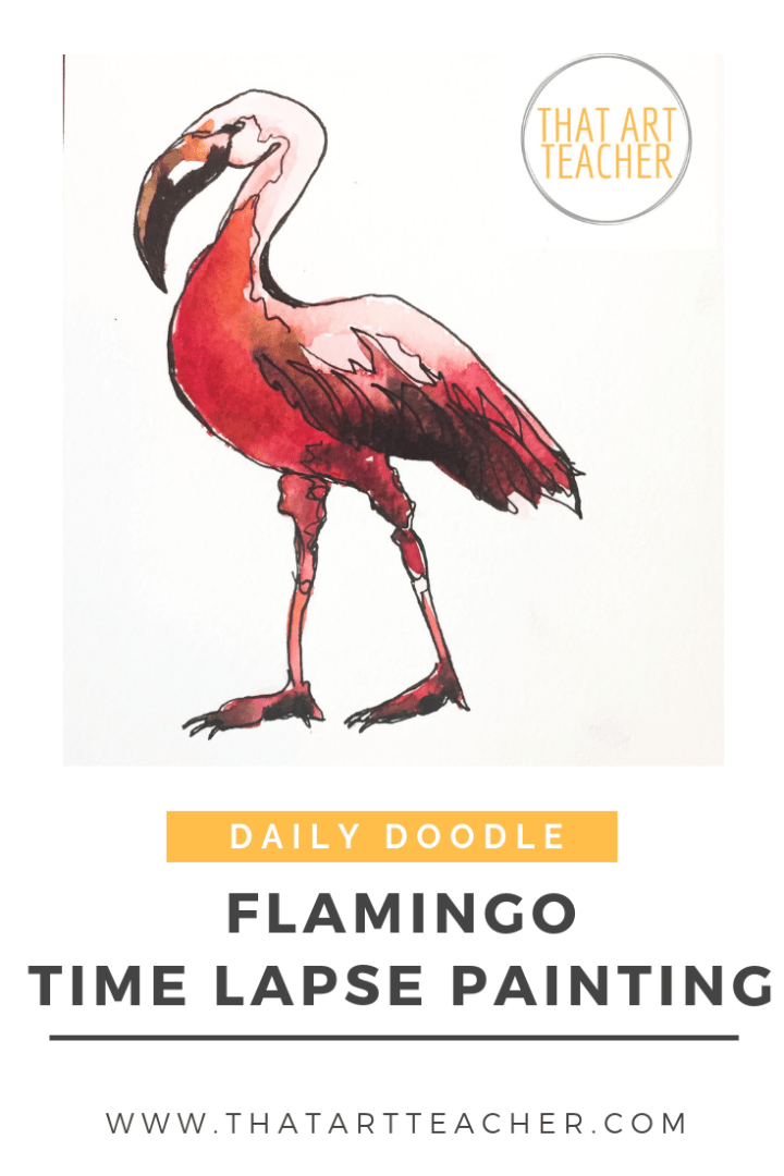 Watercolor time lapse painting of a happy and bright flamingo.