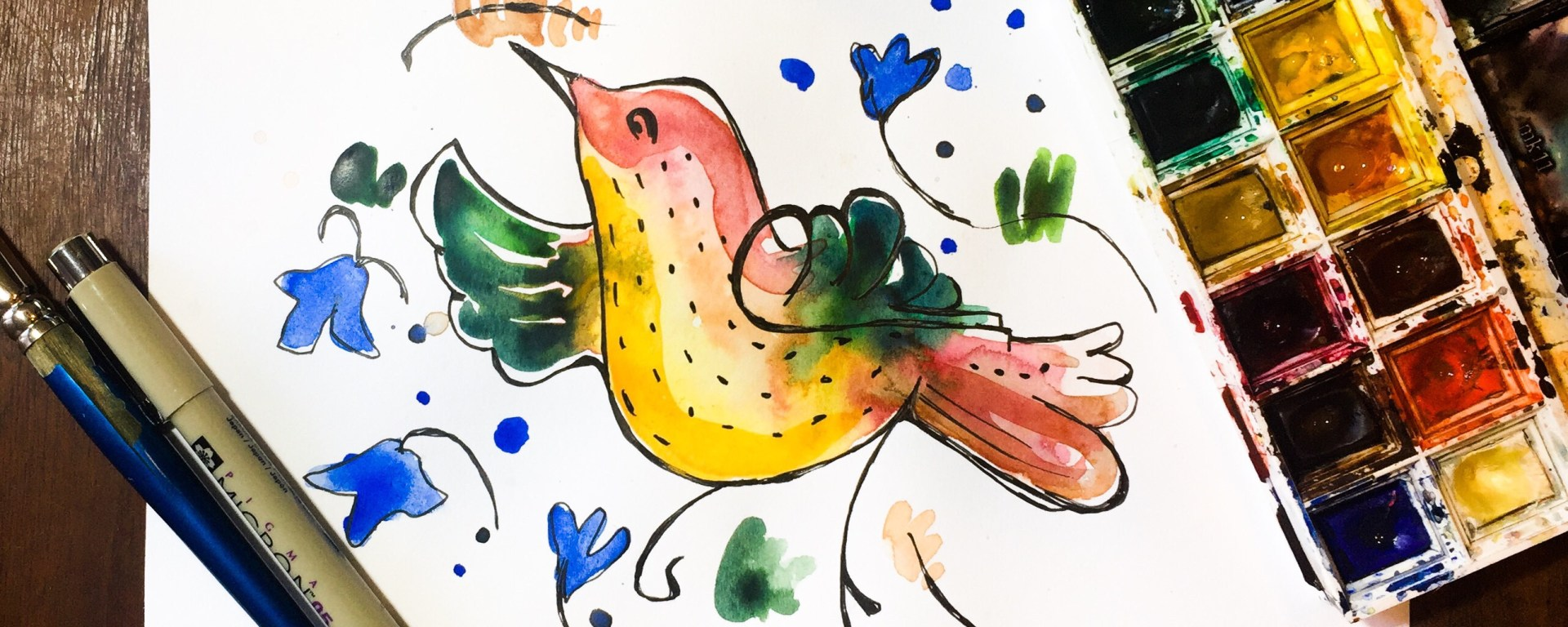 Learn how to paint a watercolor bird and floral pattern inspired by the ceramics of my trip to Deruta, Italy.