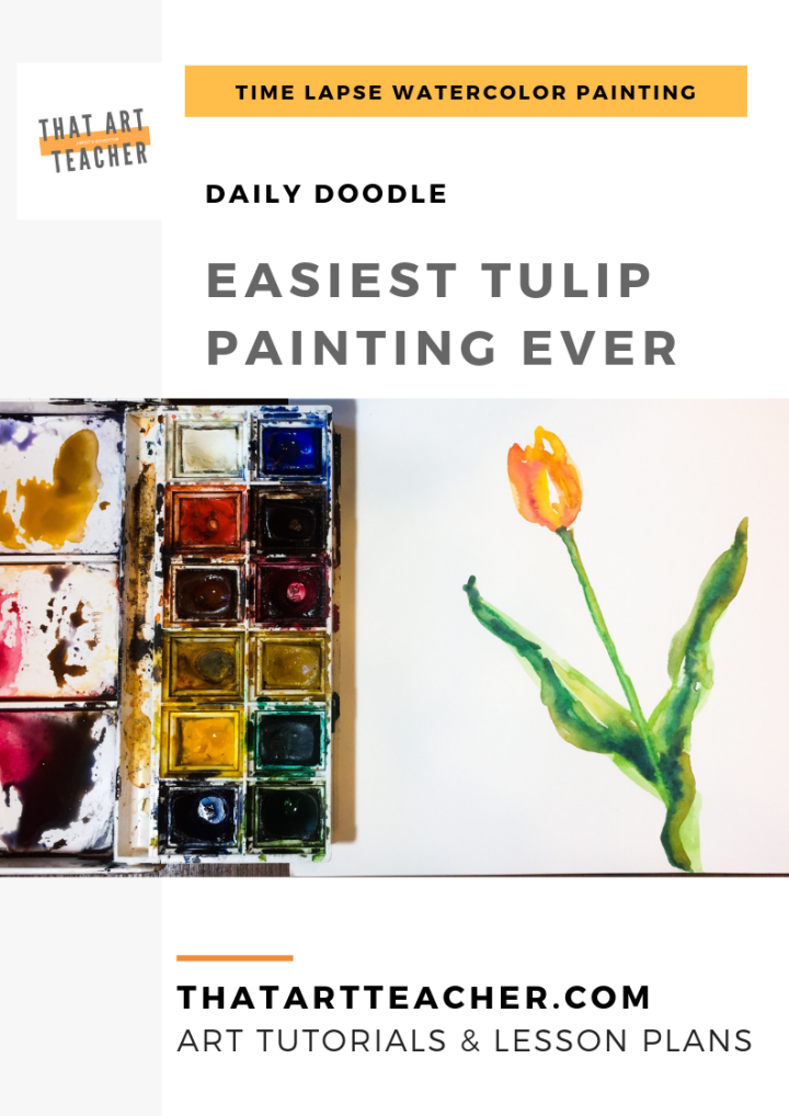 Learn how to paint the easiest tulip ever using simple colors and shapes with this watercolor time lapse tutorial!