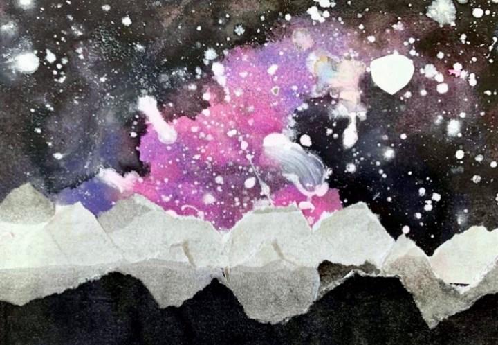 torn paper galaxy landscape