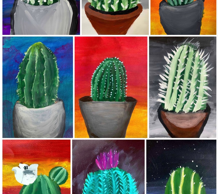 Cactus Acrylic Painting Lesson