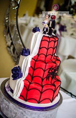 half and half spider man cake