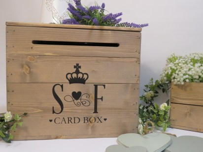rustic themed wedding inspiration - personalised wooden post box