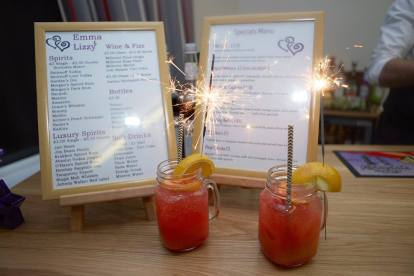 Custom cocktails at Lizzy and Emma's wedding