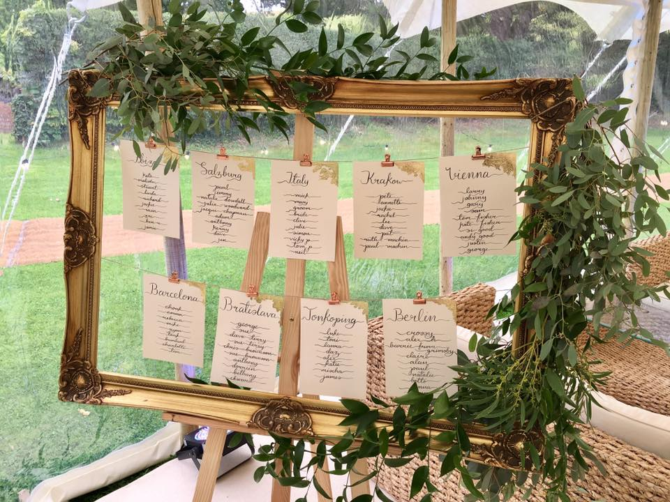 bespoke wedding calligraphy and gold leaf table plan