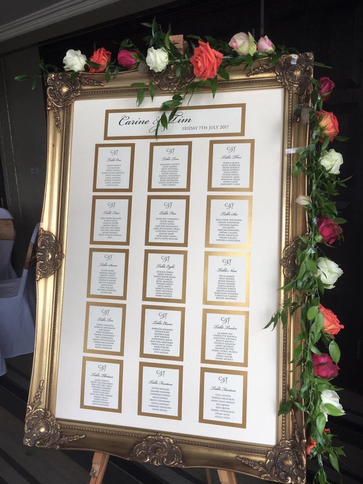 Wedding tableplan in gold frame