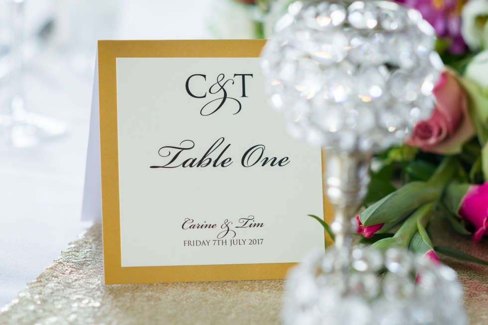 Real wedding inspiration - gold table markers