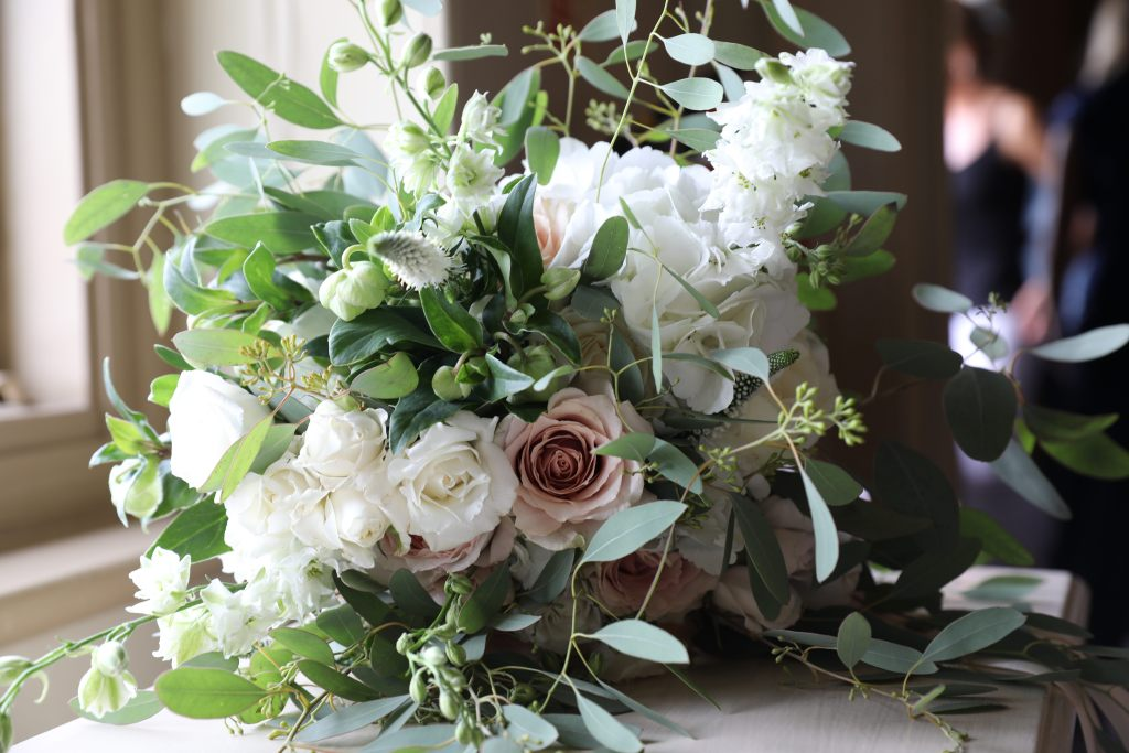 Real wedding inspiration - wedding day flowers - greenery - oversized bouquet