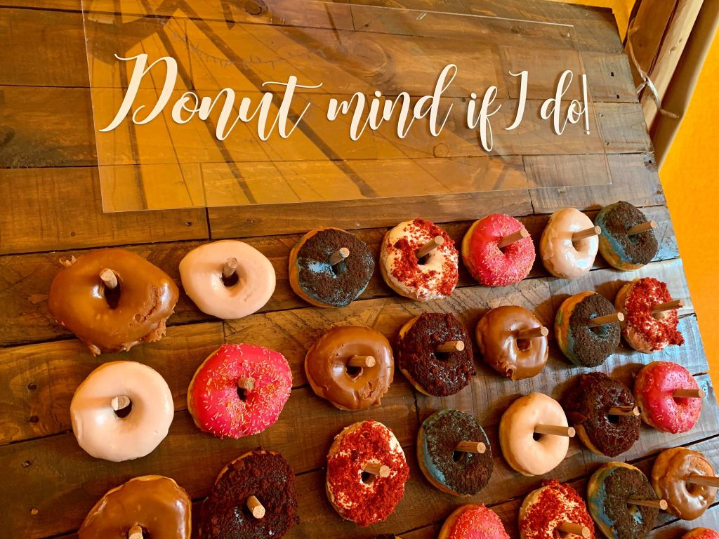 Wooden doughnut wall available to hire - floor standing or table top 3