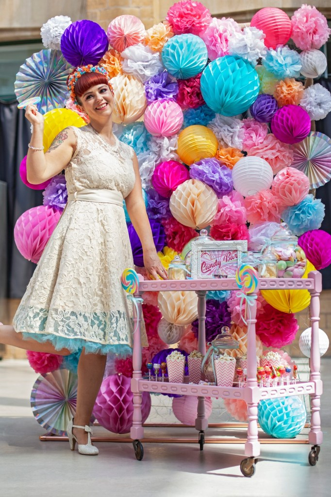 Bespoke pom pom wall - wedding colourful - wedding styling - alternative wedding - colourful ceremony backdrop - sweetie trolley - candy bar