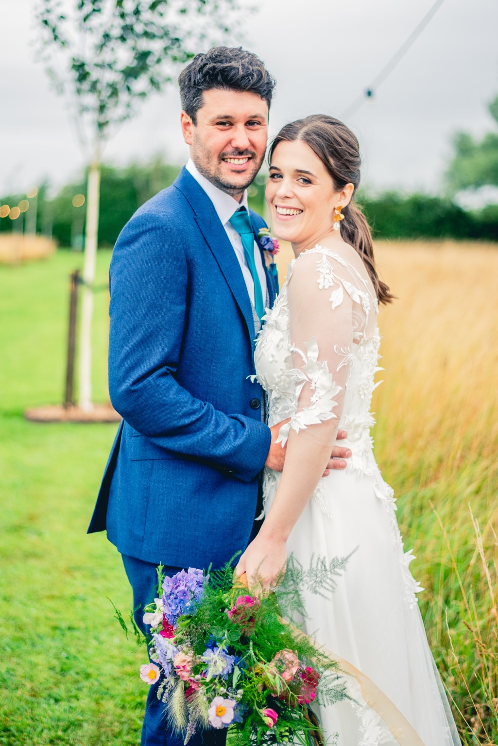 B&A wedding day - Oaktree farm outdoor wedding venue in nottinghamshire / lincolnshire - couple smiling