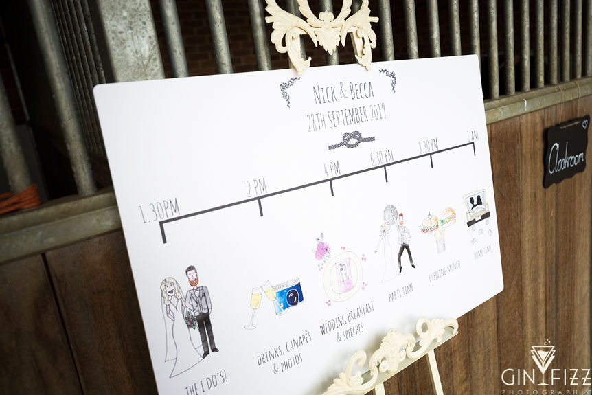 B&N barn wedding reception - order of the day sign outside stables