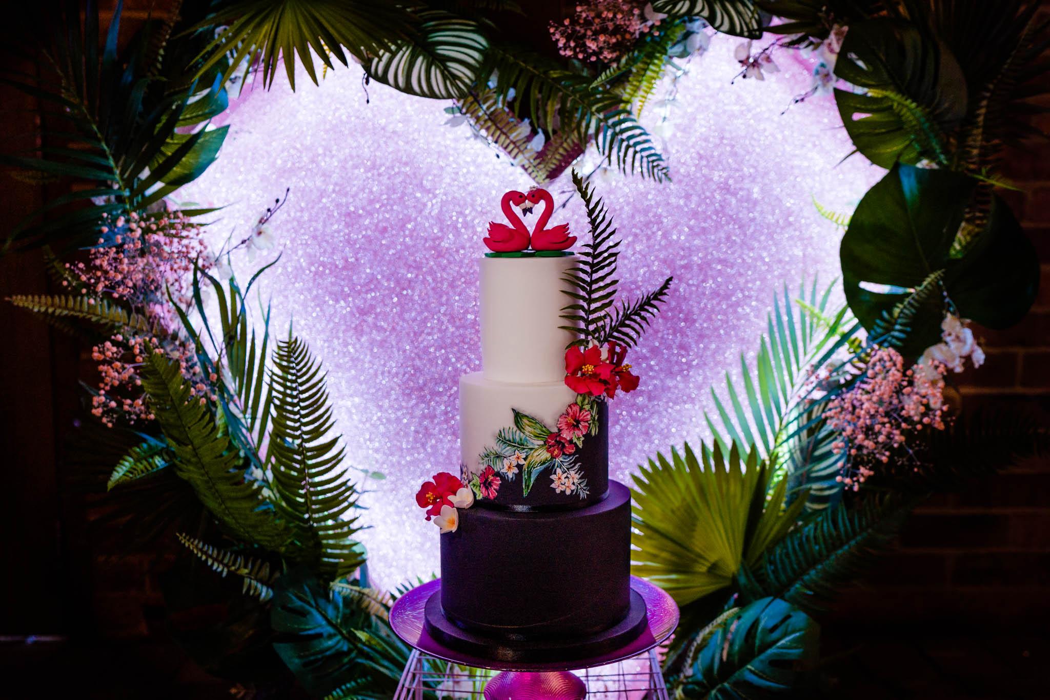 modern wedding cake - flamingo wedding cake - modern tropical wedding - modern wedding - modern bride - east midlands wedding planner