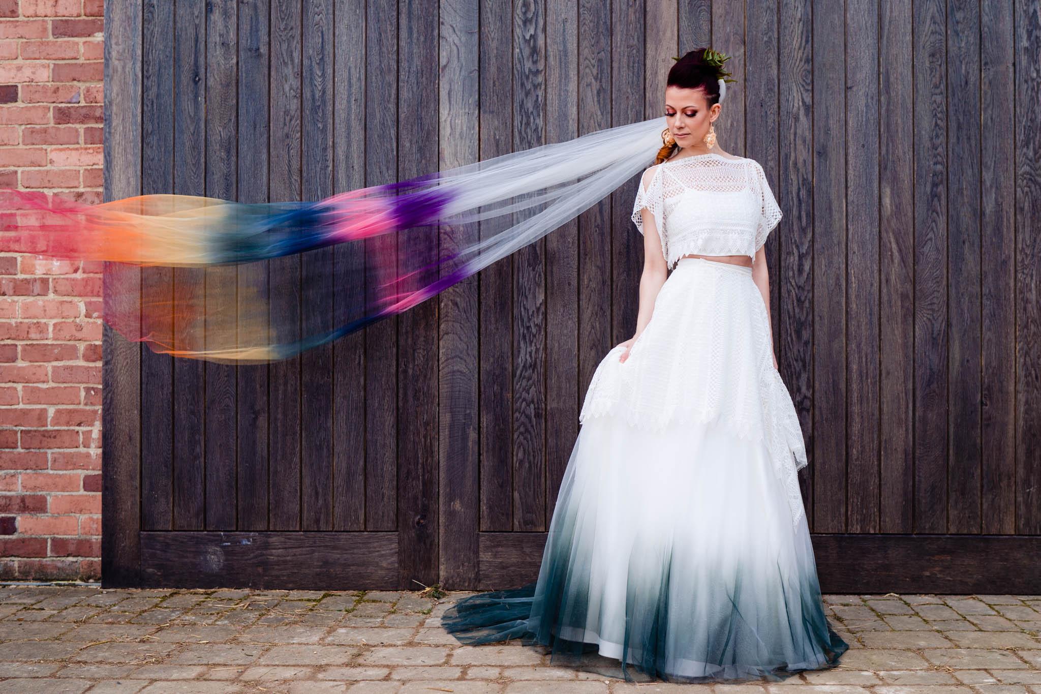 rainbow ombre veil - ombre wedding dress - tie dye wedding dress