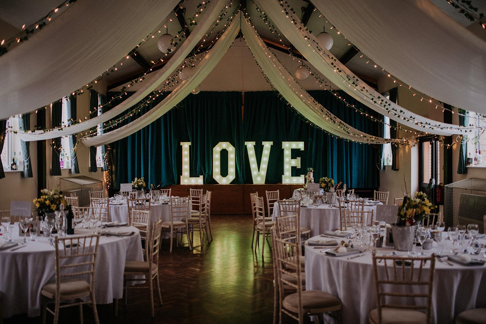 wedding decor inspiration - wedding love sign - rutland wedding - fun wedding - east midlands wedding planner - Leicestershire wedding planning - nottingham wedding planning