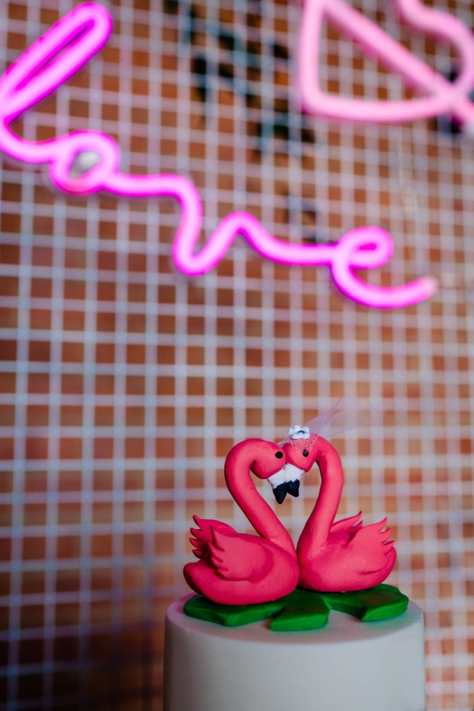 quirky wedding cake topper - flamingo cake topper - modern tropical wedding - modern wedding - modern bride - east midlands wedding planner
