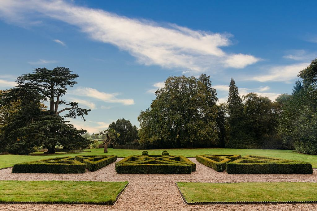 The Formal Gardens at Fillongley Hall. Warwickshire marquee venue. Marquee and tipi wedding venue. Warwickshire wedding venue.
