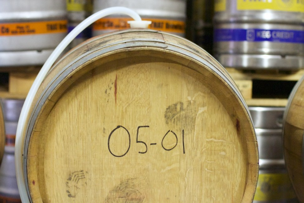 Aging beer in wine barrels at THAT Brewery in Cottonwood
