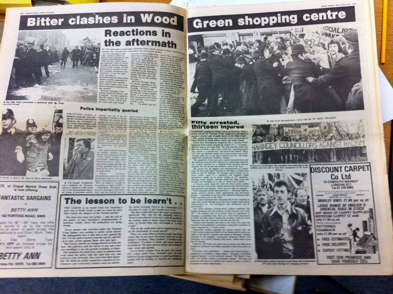 Two page spread on the riots