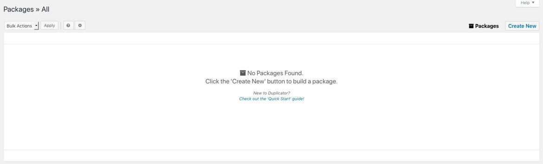 Duplicator package screen