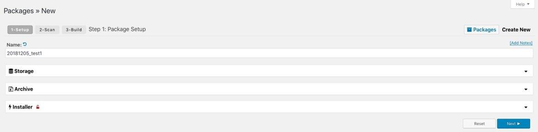 duplicator create package settings
