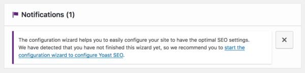 Configuration wizard notification in Yoast SEO dashboard