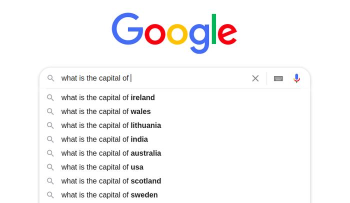 Google Autocomplete predictions 1