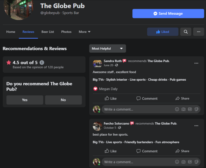 customer testimonials on facebook the globe pub