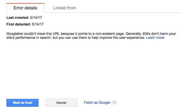 Advanced SEO techniques error details in google