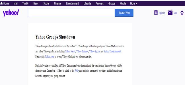 Yahoo groups shutdown page