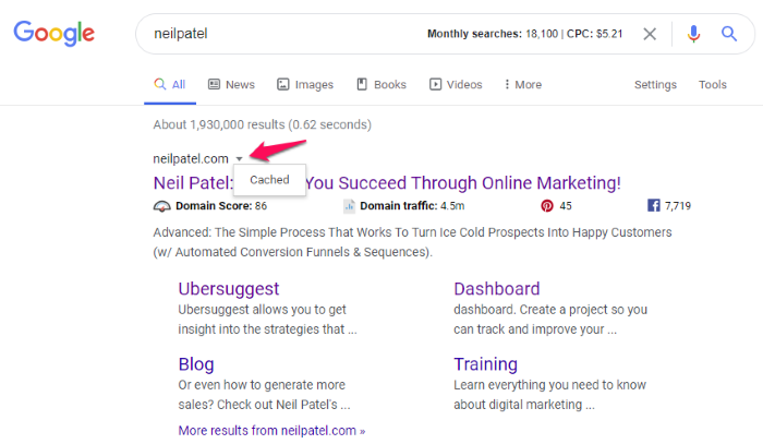 how to view google cache in search results
