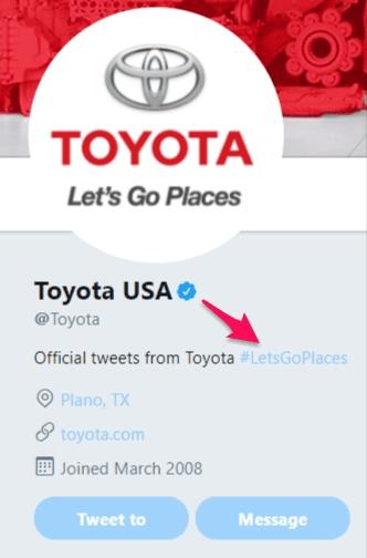 twitter trending, twitter SEO toyota letsgoplaces example