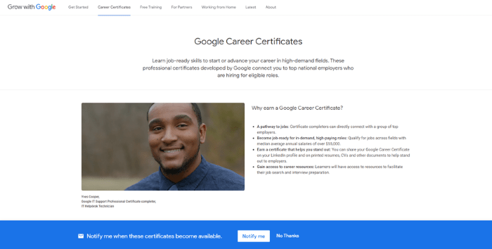 Google Certificates - Home page