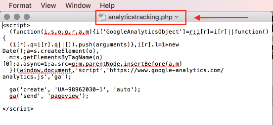 index website install tracking script