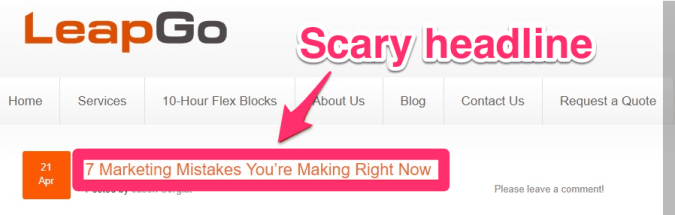 blog post example 3 for neuromarketing scary headline
