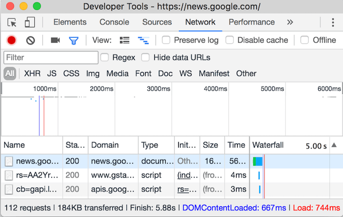 Make Fewer HTTP Requests - Chrome's DevTools