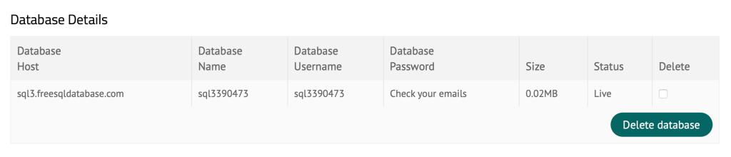 sql database credentials
