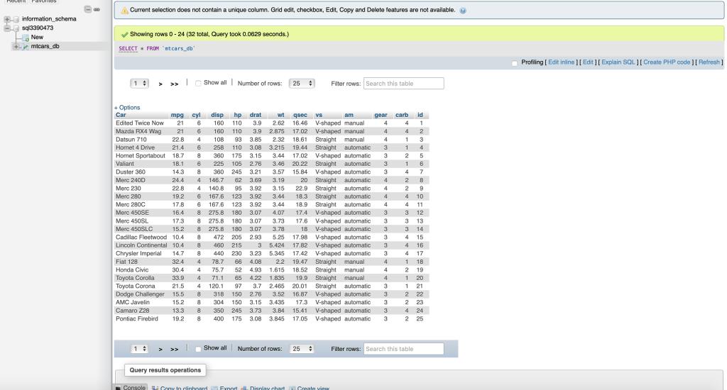 php admin sql database