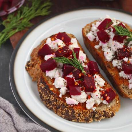 Pickled Beetroot and Feta Cheese Toast