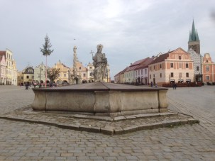The lower fountain with its statue of the town's patroness, St Margaret