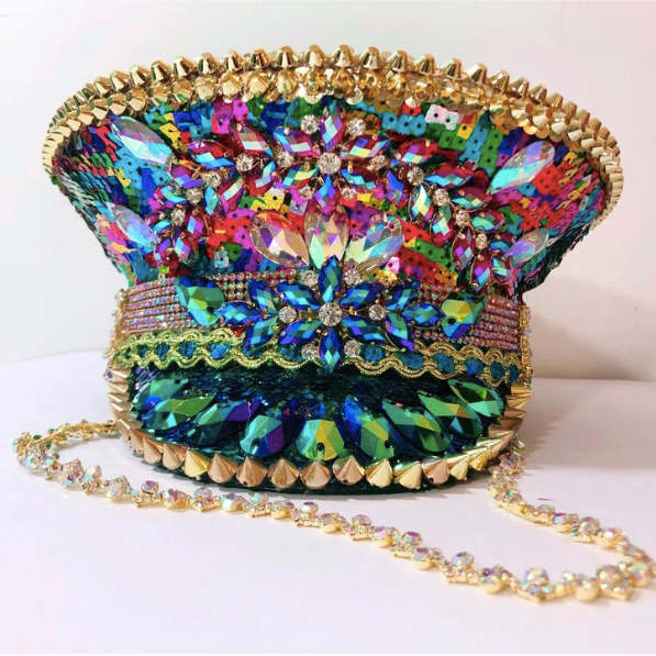 Rainbow irridescent military festival hat